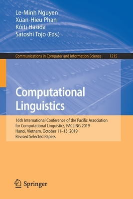 Computational Linguistics: 16th International Conference of the Pacific Association for Computational Linguistics, Pacling 2019, Hanoi, Vietnam,-cover