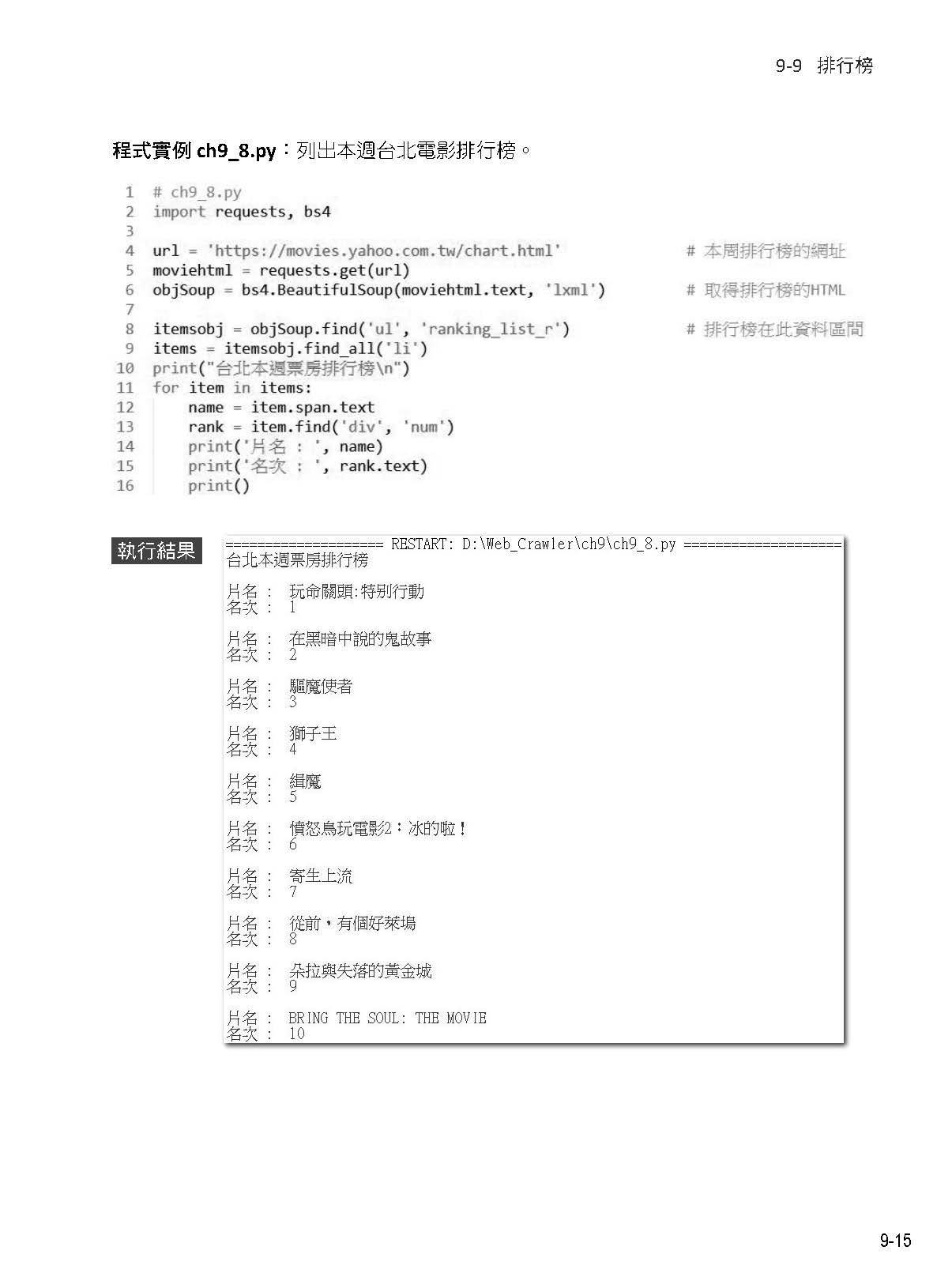 Python 網路爬蟲:大數據擷取、清洗、儲存與分析 -- 王者歸來-preview-6