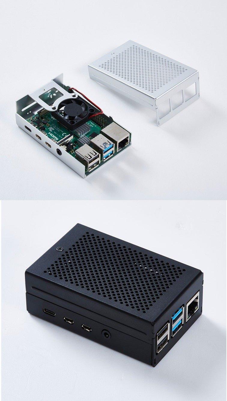 Raspberry Pi 4 鋁合金外殼帶風扇(黑/銀隨機出貨)-preview-1