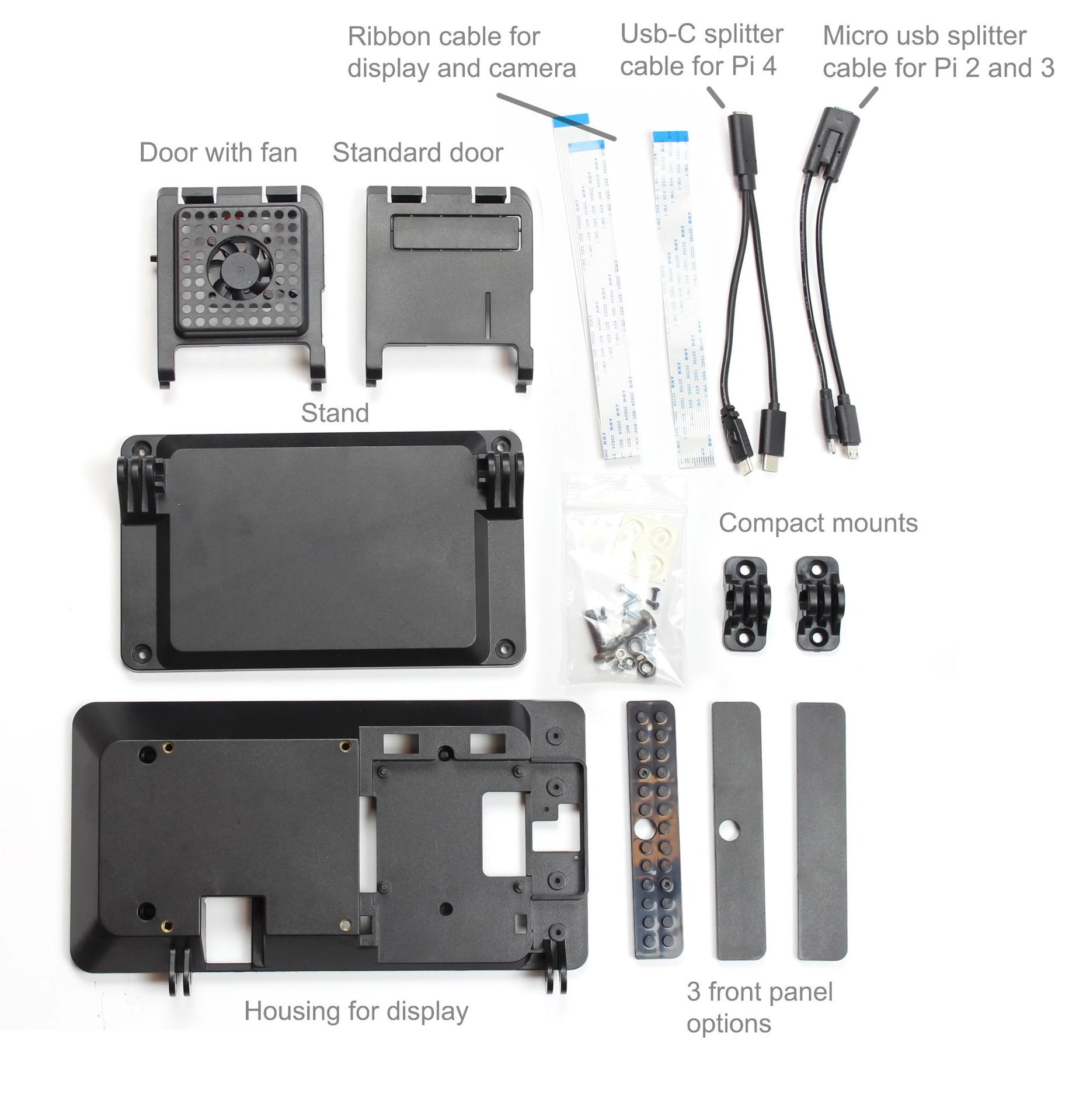 SmartiPi Touch 2 Raspberry Pi 官方7吋觸控螢幕專用外殼站立架(二代,Pi 4適用)-preview-7