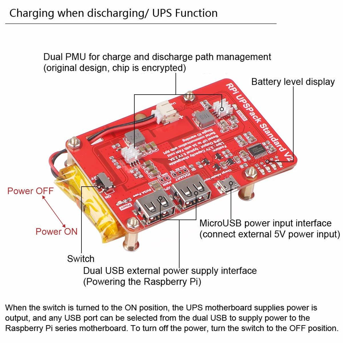 樹莓派 UPS 鋰電池擴充板 | USB 雙輸出電源供應模組 (V2)-preview-3