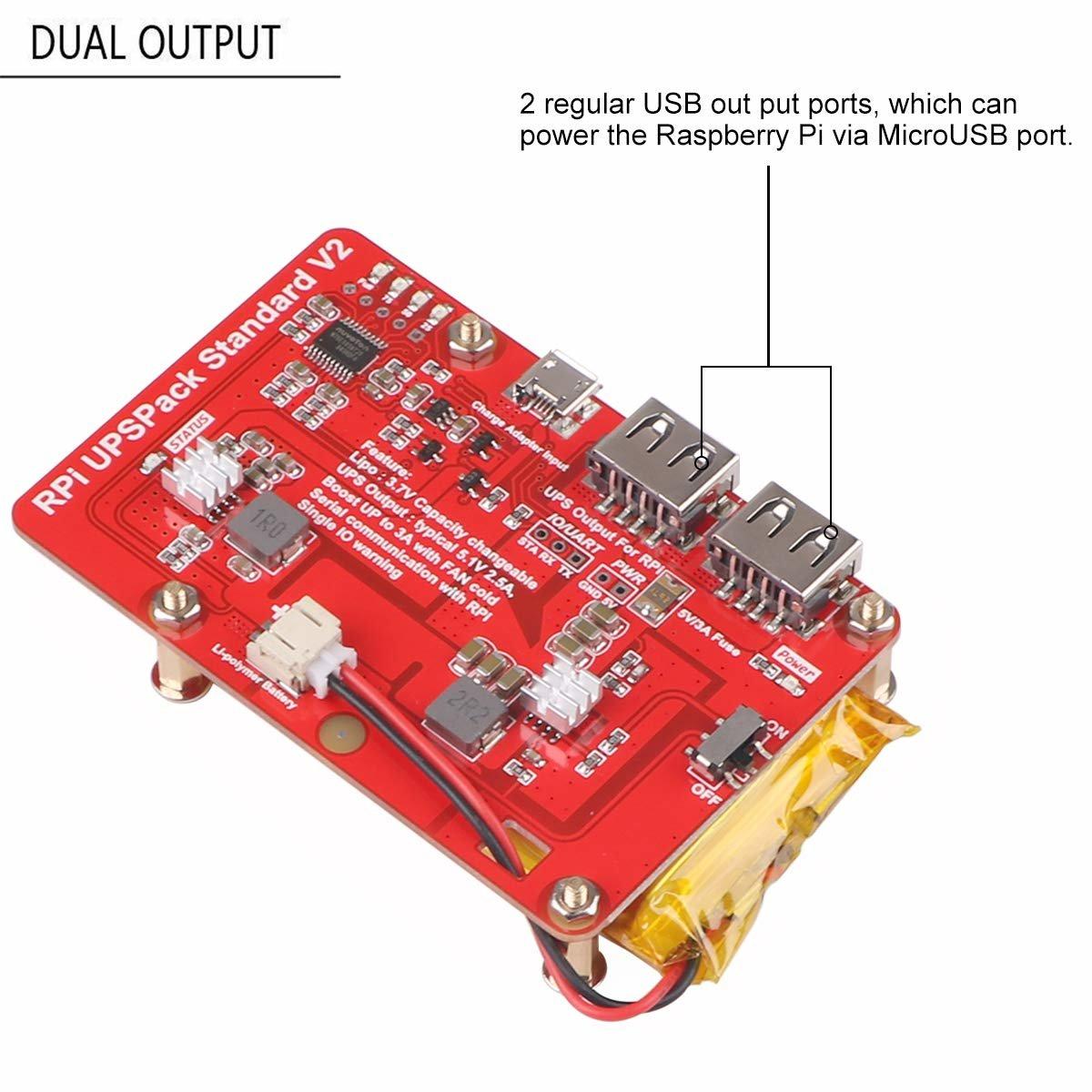 樹莓派 UPS 鋰電池擴充板 | USB 雙輸出電源供應模組 (V2)-preview-5