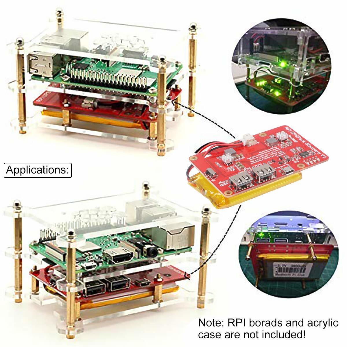 樹莓派 UPS 鋰電池擴充板 | USB 雙輸出電源供應模組 (V2)-preview-7
