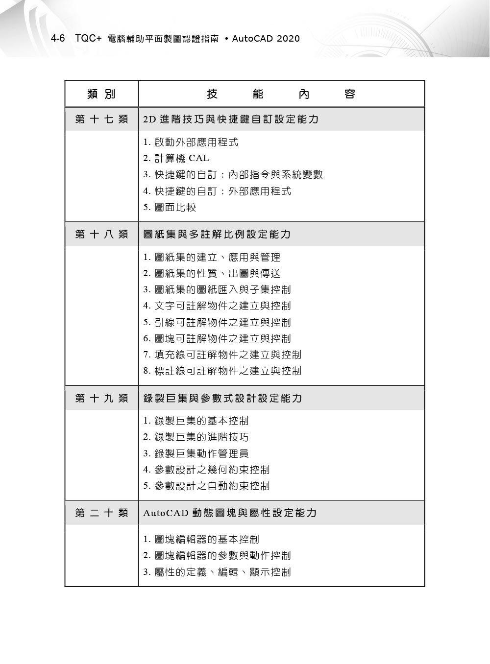 TQC+ 電腦輔助平面製圖認證指南 AutoCAD 2020-preview-6