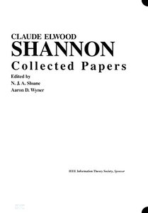 Claude E. Shannon: Collected Papers-cover