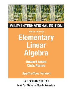 Elementary Linear Algebra Applications Version, 9/e-cover