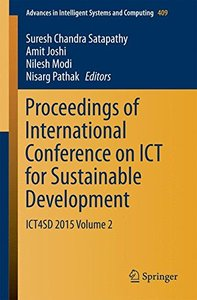 Proceedings of International Conference on ICT for Sustainable Development: ICT4SD 2015 Volume 2(Paperback)-cover