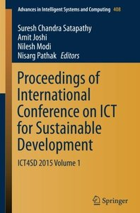 Proceedings of International Conference on ICT for Sustainable Development: ICT4SD 2015 Volume 1(Paperback)-cover