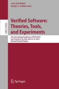 Verified Software: Theories, Tools, and Experiments(Paperback)-cover