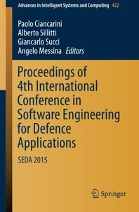 Proceedings of 4th International Conference in Software Engineering for Defence Applications: SEDA 2015(Paperback)-cover
