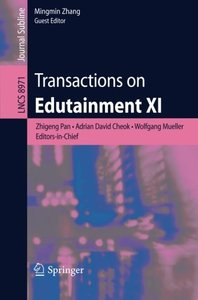 Transactions on Edutainment XI (Lecture Notes in Computer Science)-cover