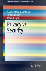 Privacy vs. Security (SpringerBriefs in Cybersecurity)-cover
