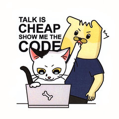 Talk is cheap show me the food 刀模貼紙-cover