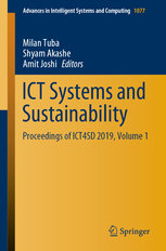 Ict Systems and Sustainability: Proceedings of Ict4sd 2019, Volume 1-cover